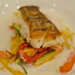 Pan-fried Red Snapper with Ratatouille Vegetables in a bed of Lemon Foam