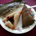Zongzi both ready to eat (left) and still wrapped in a bamboo leaf (right)
