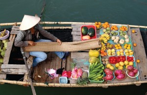 The floating markets of Vietnam are common sights throughout the country.