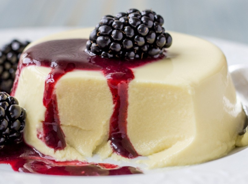 Panna Cotta with Black Currant Sauce