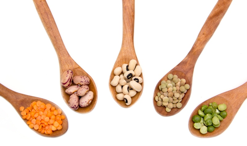 Different varieties of beans and legumes