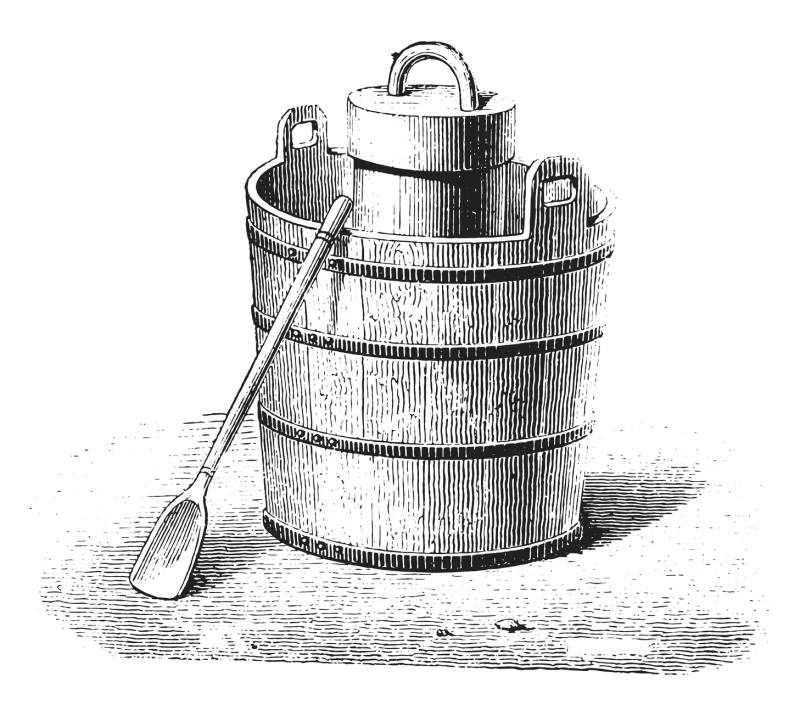 Ice cream makers such as these were needed to manually churn the mixture into ice cream.