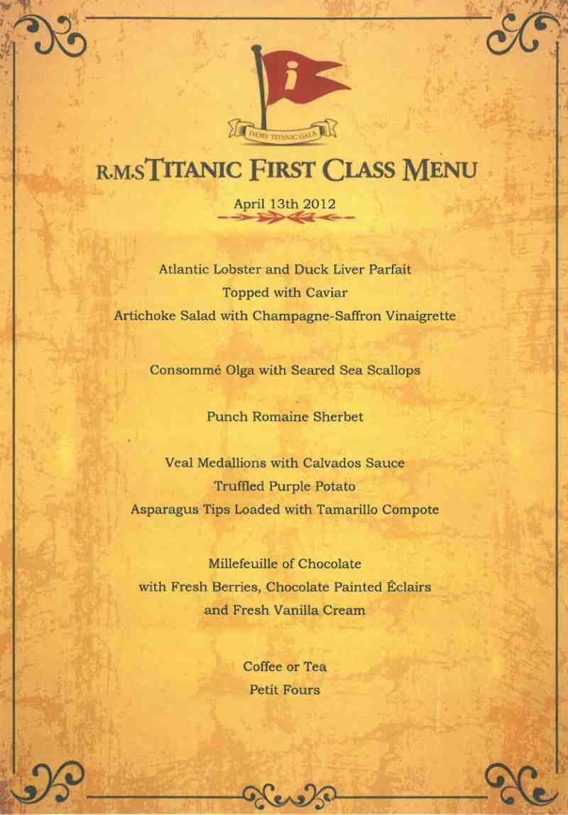 What Did Diners Aboard The Rms Titanic Eat Chef At Large