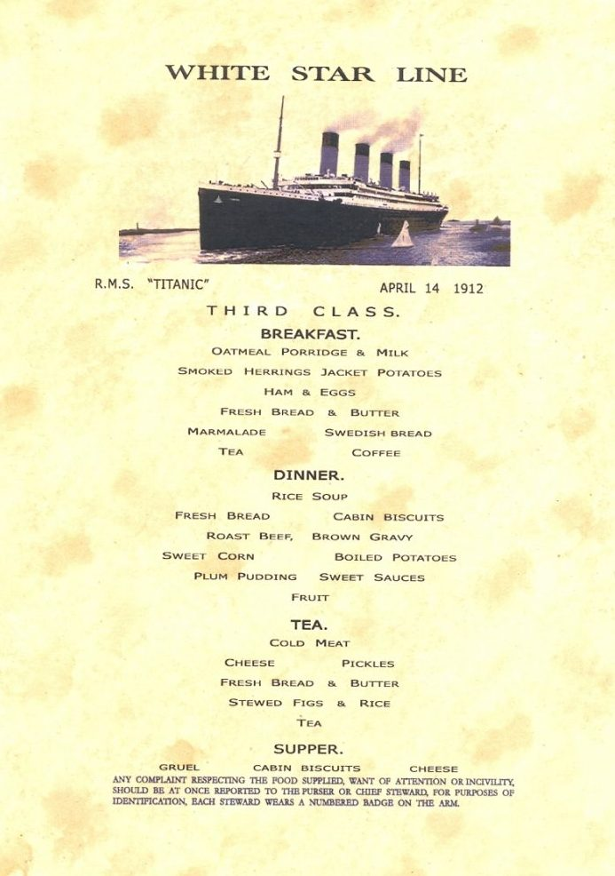 Titanic Lunch Menu Actual Copy Of Final Dinner Menu For