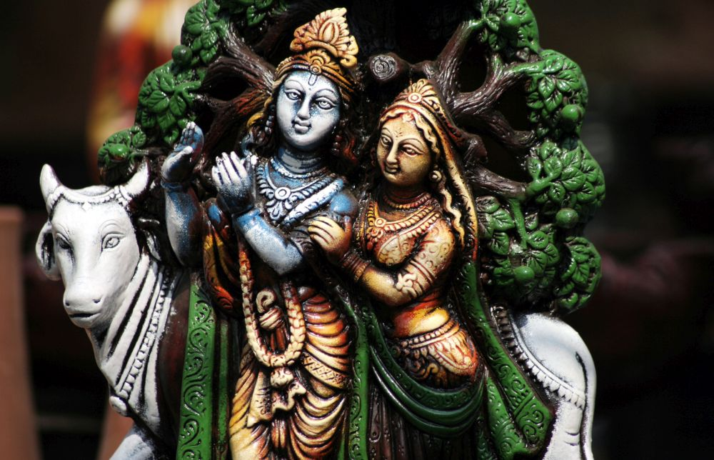 Closeup of Indian God and Goddess Sri krisna and Radha Idol for sale in the market
