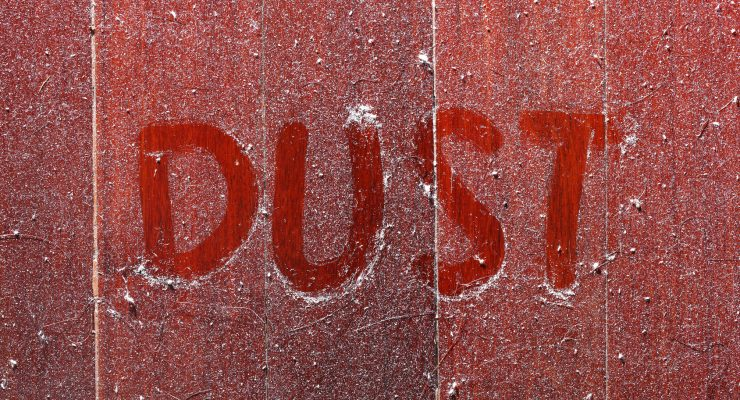Close up dirty dust on old wooden parquet floor