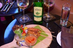 Four Seasons Chenin Blanc with Singapore Chicken Satay Skewers