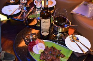 Vintner's Reserve Barrel Aged Fine Red Wine with Kerala Style Dry Lamb Appetizer
